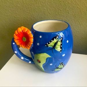 Pier 1 Imports Mug - Blue Boho - 3D Orange Flower